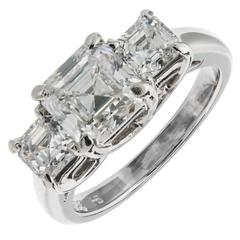 Hammerman Brothers Asscher Cut Diamond 3 Stone Platinum Engagement Ring