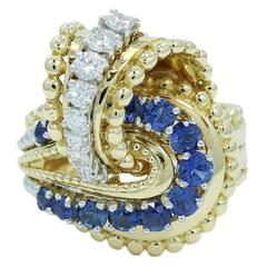 Diamond  Sapphire Gold Cocktail  Ring