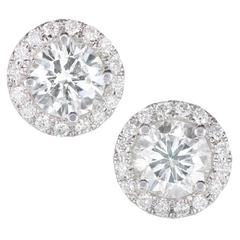 Peter Suchy Round Halo Diamond Gold Stud Earrings
