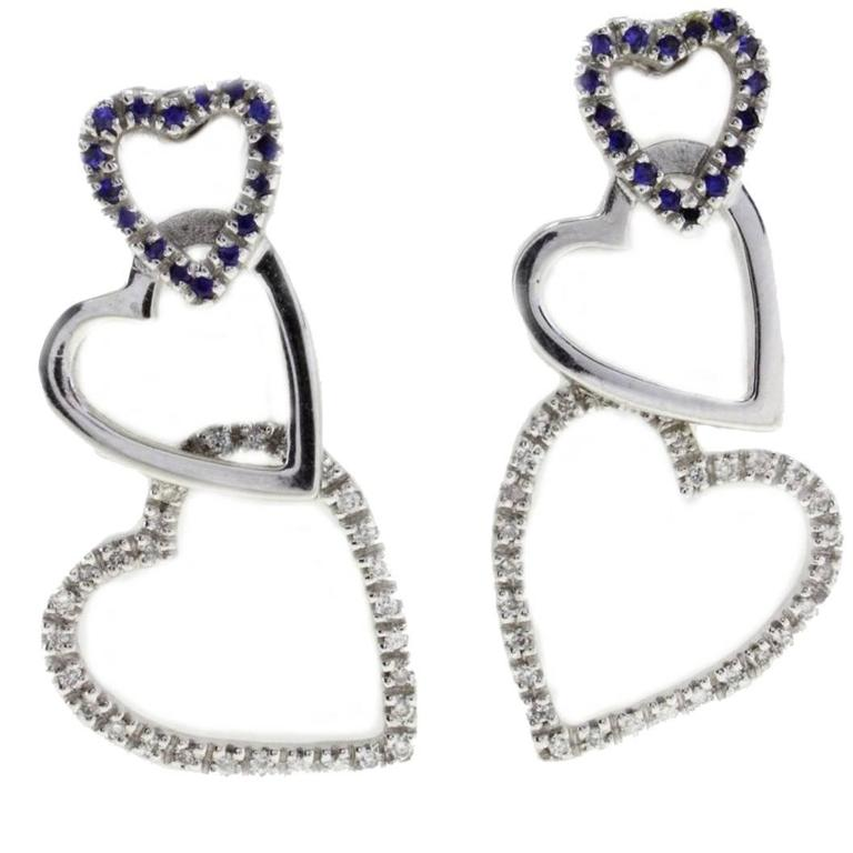 Diamond Sapphire 18 Karat White Gold Hearts Earrings