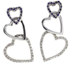 Diamond Sapphire 18 Karat White Gold Hearts Earrings