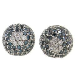 Little Dome Diamond and Fancy Diamond 18 Karat White Earrings