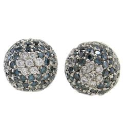 Little Dome Diamond and Fancy Diamond 18 Karat White Earrings