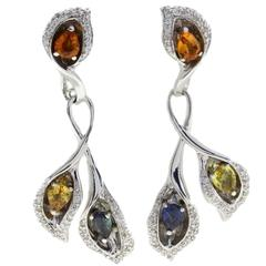1.64 Carat Diamond and 2.83 Carat Sapphire Multi-Color Gold Earrings