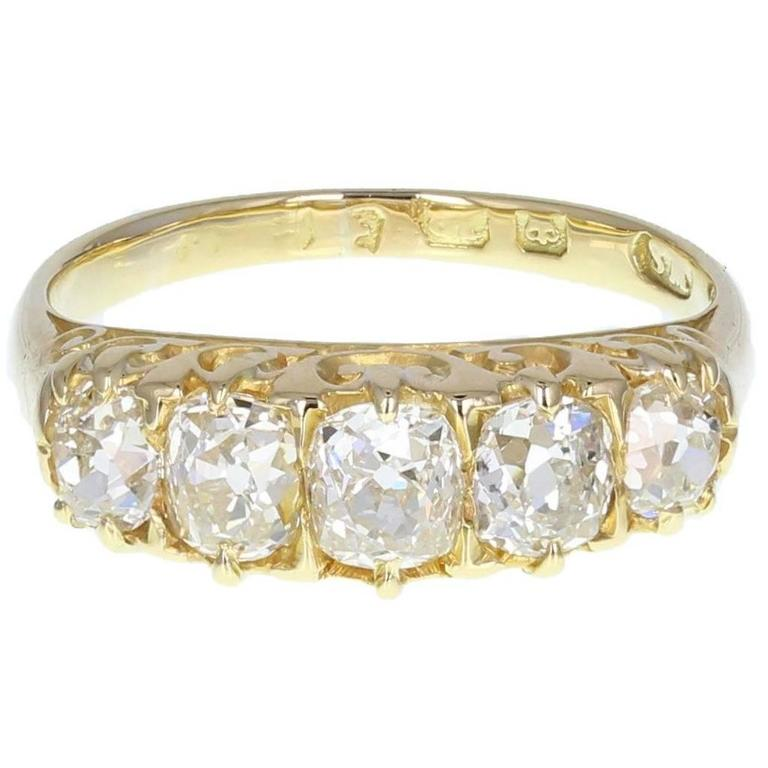 Antique Victorian Cushion Cut Diamond Five Stone  Gold Ring