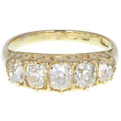 Antique Victorian Cushion Cut Diamond Five Stone  Gold Ring