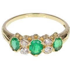 Antique Victorian Emerald Diamond  Gold Ring