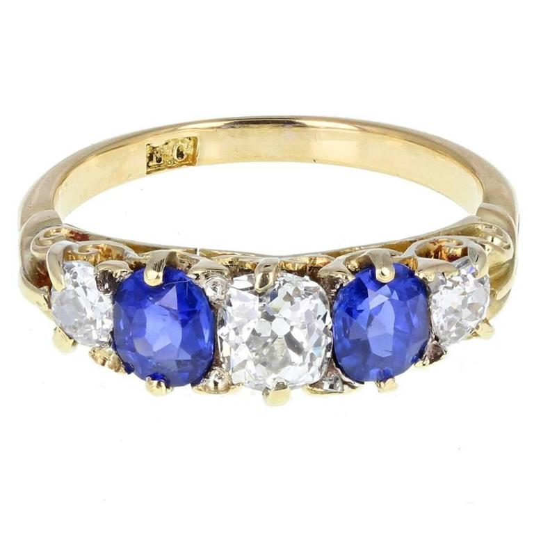 Antique Victorian Sapphire Diamond Gallery Set Five Stone Gold Ring