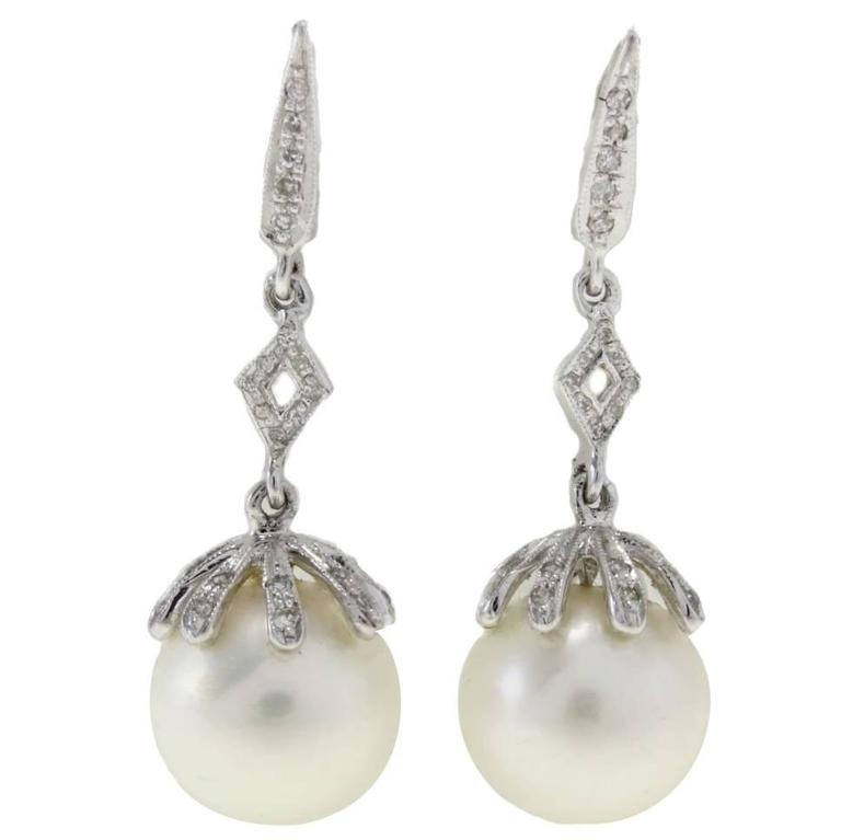 Pearl & Diamond Gold Earrings