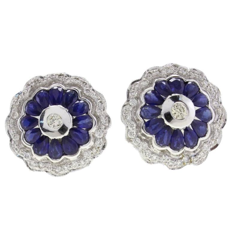 Diamond Blue Sapphire Flower Stud  Gold  Earrings