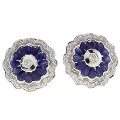 Diamond Blue Sapphire Flower Stud Gold  Earrings