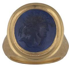 17th Century Renaissance Sapphire Intaglio Gold Ring of Roman Emperor Nero