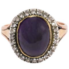 Antique Georgian Cabochon Amethyst Diamond Ring