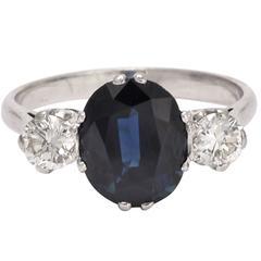 Art Deco Natural Sapphire Diamond Trilogy Engagement Ring