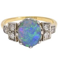 Art Deco Black Opal Diamond Ring