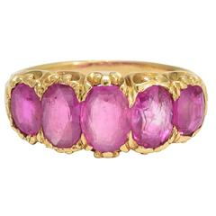 Antique Victorian Natural Ruby 5-Stone Gold Ring