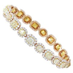 Rose Gold Bangle Bracelet with Fancy Yellow Diamonds Mixed Shapes with Halo
