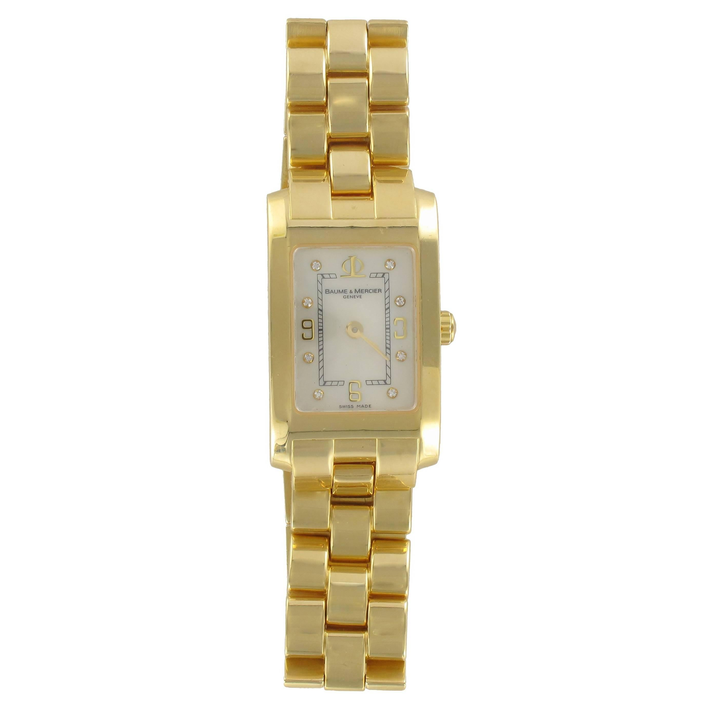 Baume & Mercier Ladies Yellow Gold Diamond Hampton Quartz Wristwatch