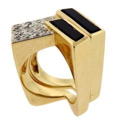1970s Gold Onyx Diamond Geometric Ring Set