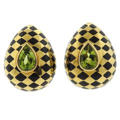 Angela Cummings Gold Peridot Onyx Inlay Earrings