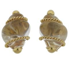 Seaman Schepps Gold Crystal Shell Motif Earrings