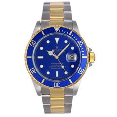 Rolex Yellow Gold Stainless steel Blue dial Submariner Automatic Wristwatch
