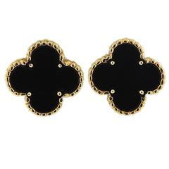 Van Cleef & Arpels Vintage Alhambra Gold Onyx Earrings