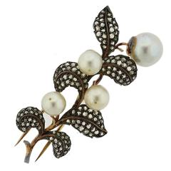 Mario Buccellati Gold Silver Rose Cut Diamond Pearl Brooch Pin