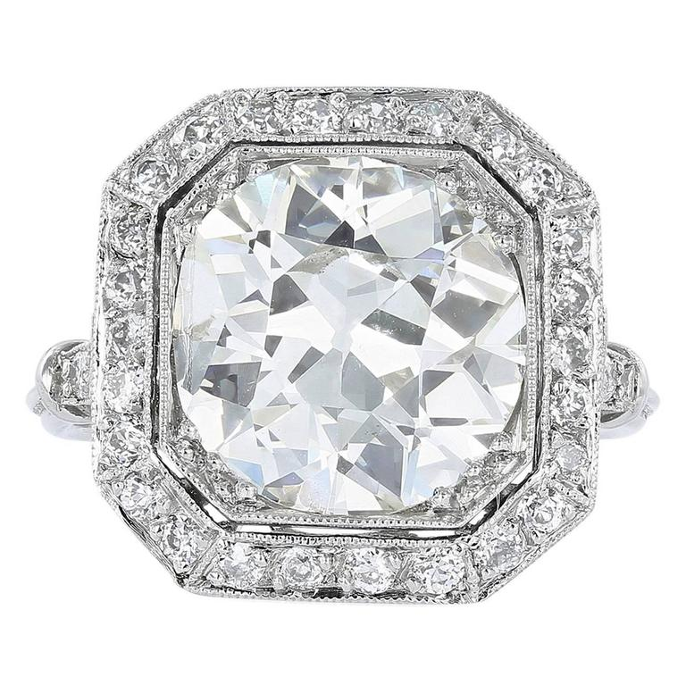 3 82 Carat Cushion Cut Diamond Engagement Ring at 1stdibs