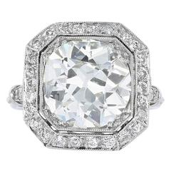3.82 Carat Cushion Cut Diamond Engagement Ring