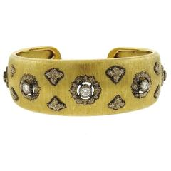 Mario Buccellati Gold Diamond Classic Cuff Bracelet