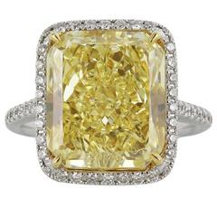 GIA Certified 10.01 Fancy Intense Yellow Radiant Cut VVS2 Diamond Ring