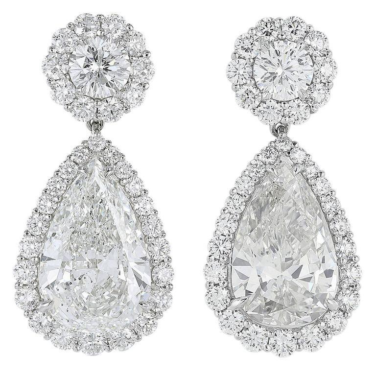 GIA Certified Pear Shape Diamond Drop Earrings For Sale