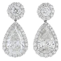 GIA Certified Pear Shape Diamond Drop Earrings