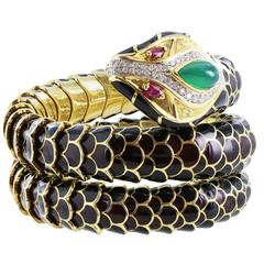 Black Enamel Snake Wrap Bracelet Diamonds Emerald Cabocon Ruby Eyes