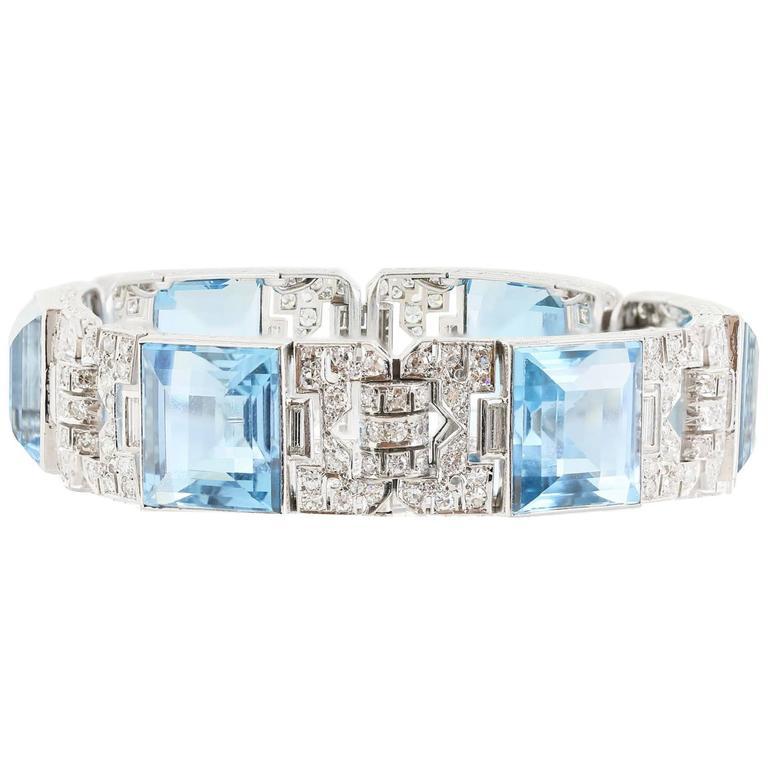 Art Deco 80 Carat Aquamarine Diamond Bracelet