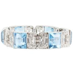 Art Deco 80 Carat Aquamarine Diamond Bracelet