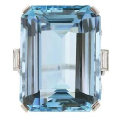 51.67 Emerald Cut Aquamarine Ring