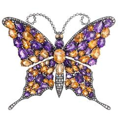 Splendid Amethyst Citrine Diamond Butterfly Brooch