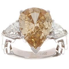GIA 3.72 Carat Fancy Colored Pear Shaped Diamond Platinum Engagement Ring
