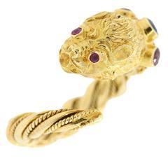 Ilias LaLounis Chimera Head Gold Ring