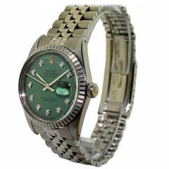 Rolex Watch Company Stainless Steel Diamond Dial Automatic Wristwatch