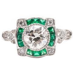 Diamond French Cut Emerald Engagement Platinum Ring