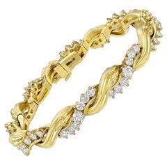 Diamond gold Spiral Link Bracelet