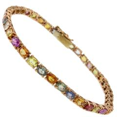 Luise Multicolor Sapphires Rose Gold Bracelet