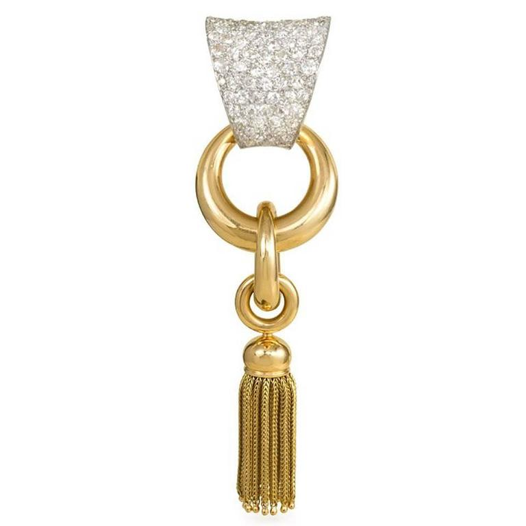 1940s Boucheron  Diamond Tassel Brooch For Sale