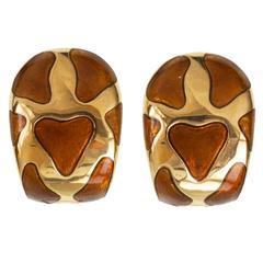 Roberto Coin Enamel Giraffe 18 Karat Yellow Gold Earrings