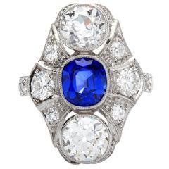 Art Deco Kashmir No Heat Sapphire 1.66 Carat and Diamond Ring AGL Cert