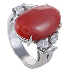 Diamond and Coral Cabochon Platinum Ring