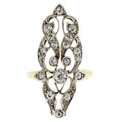 Lovely Edwardian Diamond Plaitnum Topped Yellow Gold Long Ring